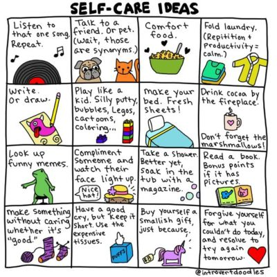 Playful graphic with self-care ideas for adults
