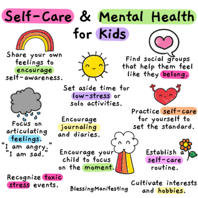 Playful graphic with tips for self-care and mental health for children
