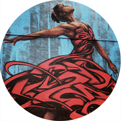 A dancer in a red dress from the PS9 exterior mural.