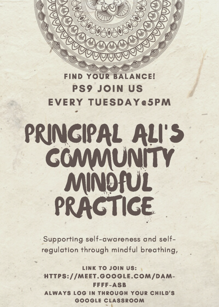 Mindful Practice with Principal Ali – Tuesdays 5PM